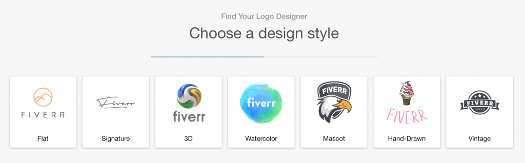 Screenshot: Fiverr logo design styles