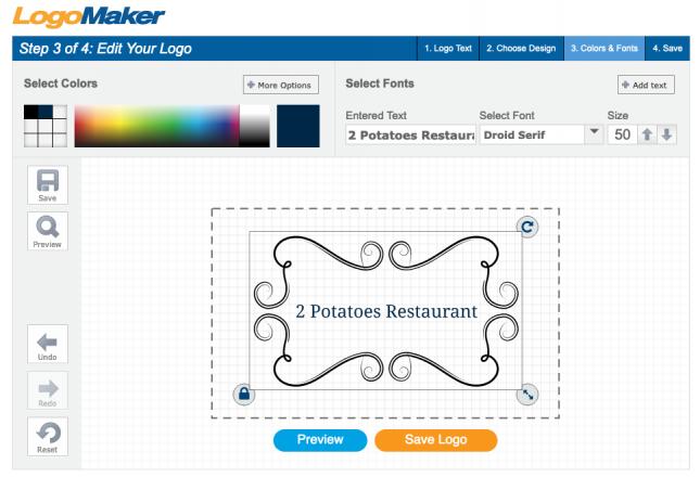 Screenshot of LogoMaker.com's logo design editor