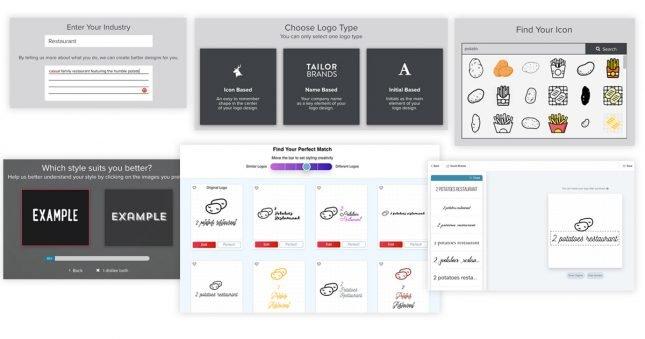 Screenshots of Tailor Brands' logo maker