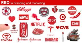 Red in logos, branding and marketing