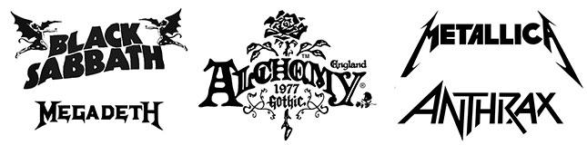 black heavy metal and goth logos