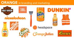 Orange in logos, branding and marketing