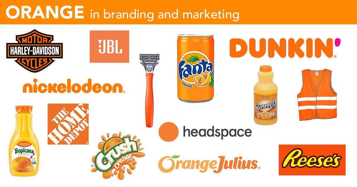 Orange in logos, branding and marketing