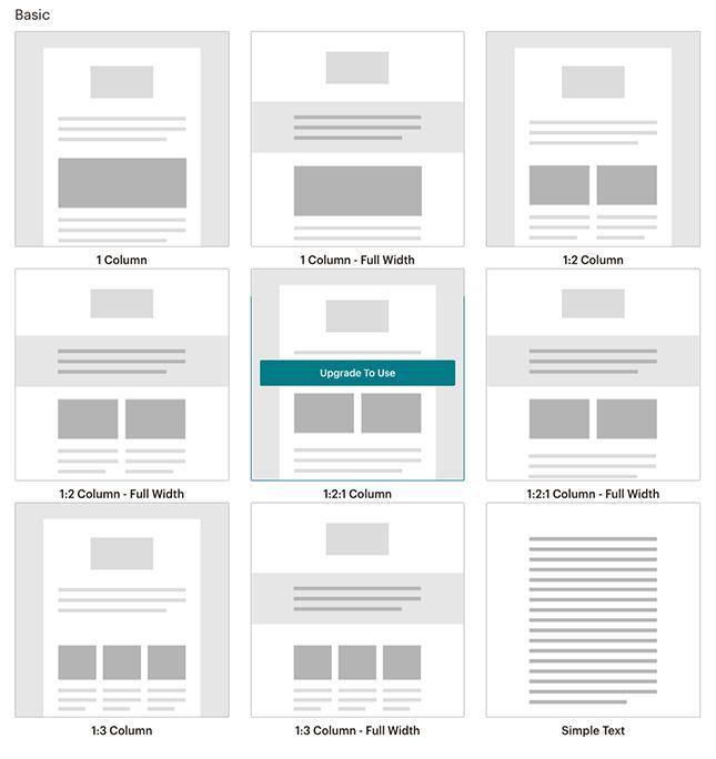 Choosing a Mailchimp template