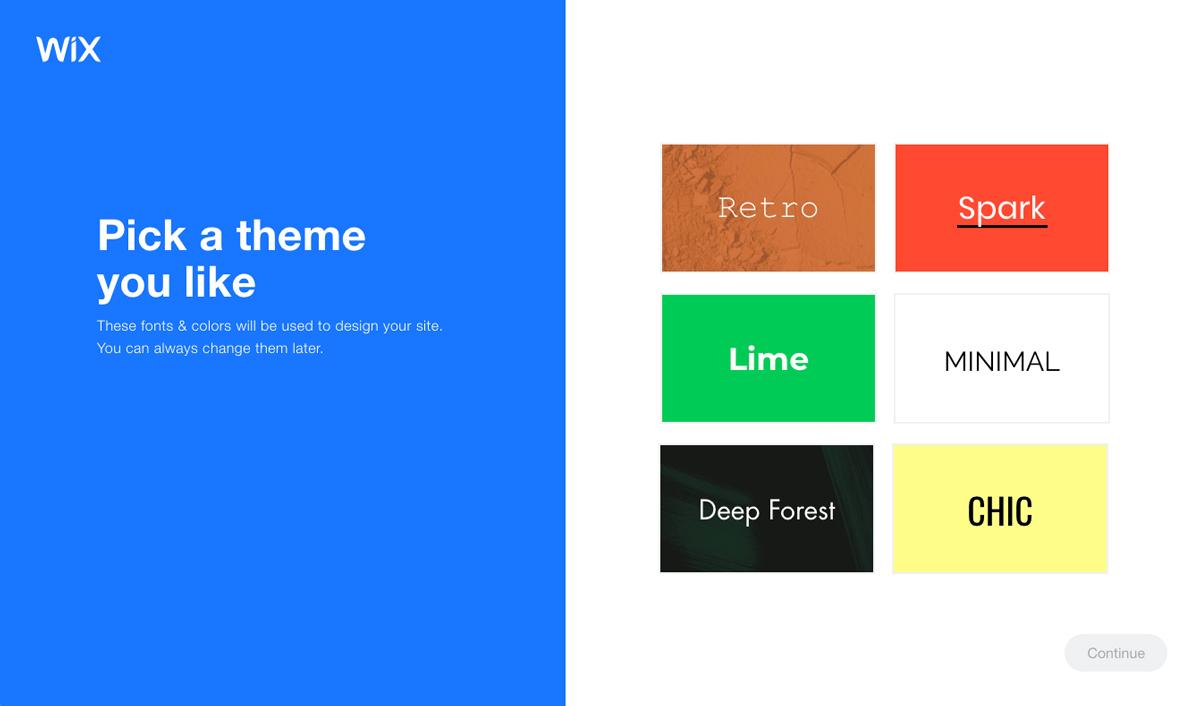 Wix ADI pick a theme