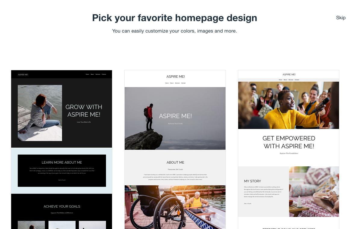 Wix - Pick your favorite hompage design