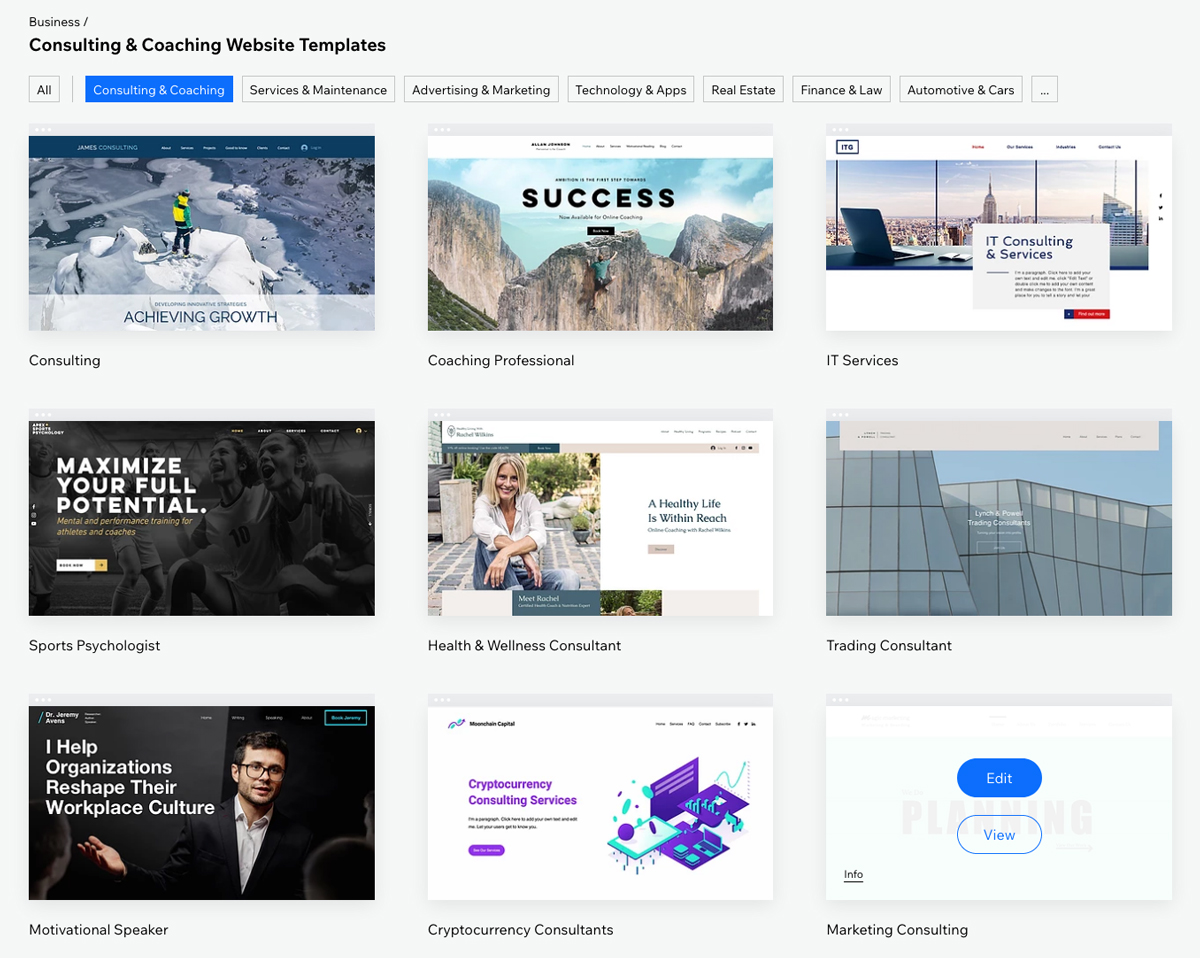 Samples of Wix templates