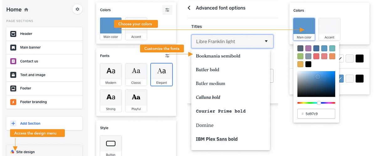 Weebly design menus