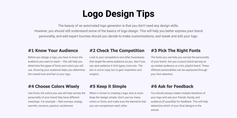 Tailor Brands' logo design tips